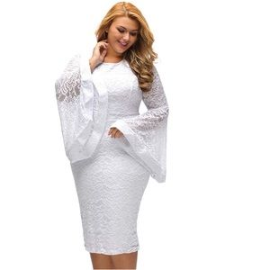 Plus Size Bell Sleeves White Lace Dress NWT